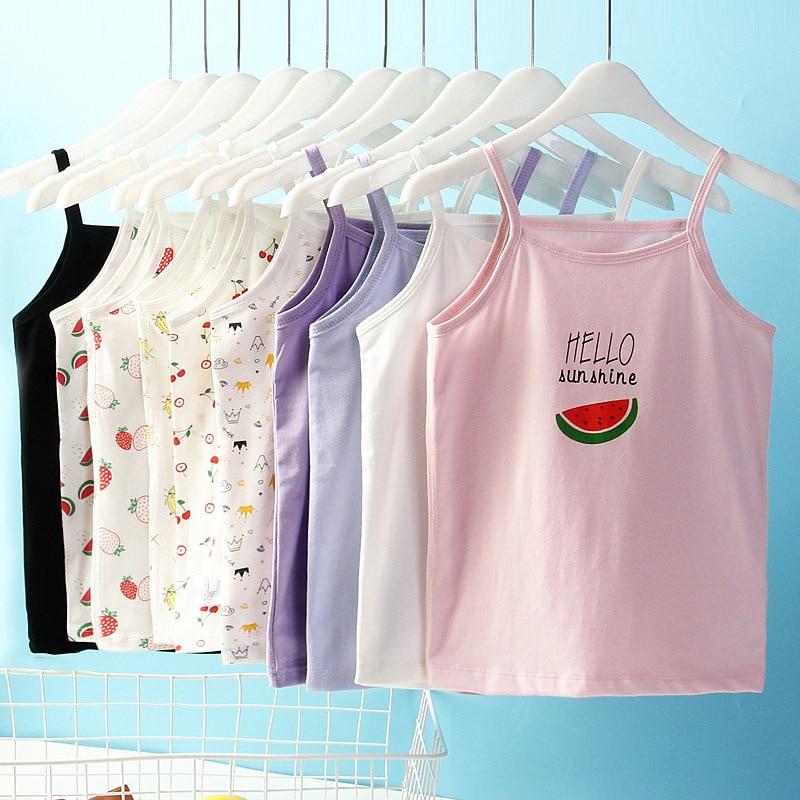 Tops For Girls Camisole Singlet Baby Undershirts Cotton Crop Tops Kids Clothing  T-shirt Cartoon Underwear  2021 Summer