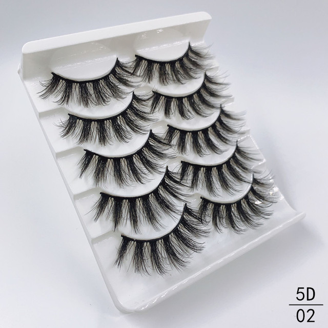 High quality 5 pairs 3d mink eyelashes wholesale fluffy eyelashes mink eyelash natural false eyelashes extensions 3