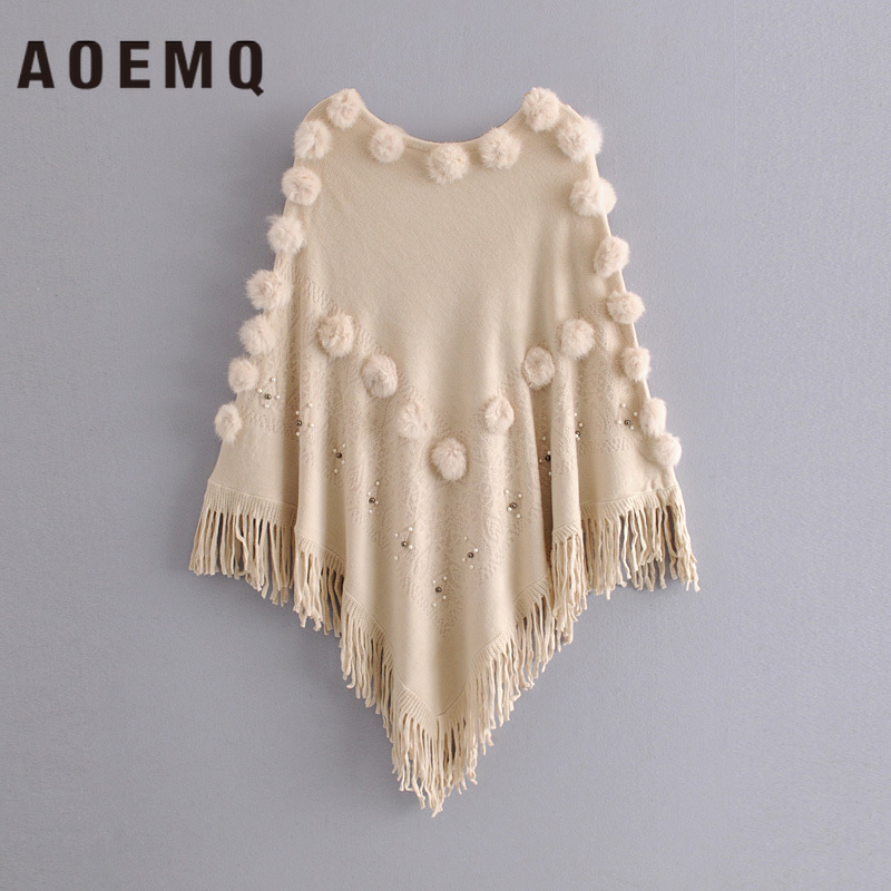 AOEMQ Fashion Wrap Sweet Winter Christmas Present Women Wrap With Fluff Ball Tassel Swing Crystal Embellishment Women Clothing