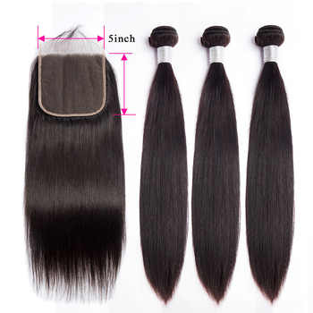 Straight Hair 5x5 Lace Closure with Bundles Remy Brazilian Human Hair Weave Bundles with Closure Alibele 4 3 Bundles Closure - DISCOUNT ITEM  45% OFF All Category
