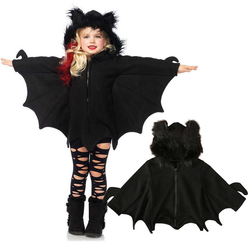 Unisex Kids Black Bat Funny Costume Outfit Jumpsuit Wings Child Halloween Cos Hooded Catsuit Festival Gift For Child Boys Girls