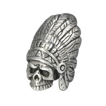 925 Sterling Silver Punk Hippop Indian chief Skull Men Women Necklace Pendant Jewelry 56g solid 925 sterling silver long necklace men vintage indian style bull
