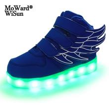 Luminous-Sneakers Led-Light Shoes Girls Children Casual-Shoes Usb-Charging Boys Unisex