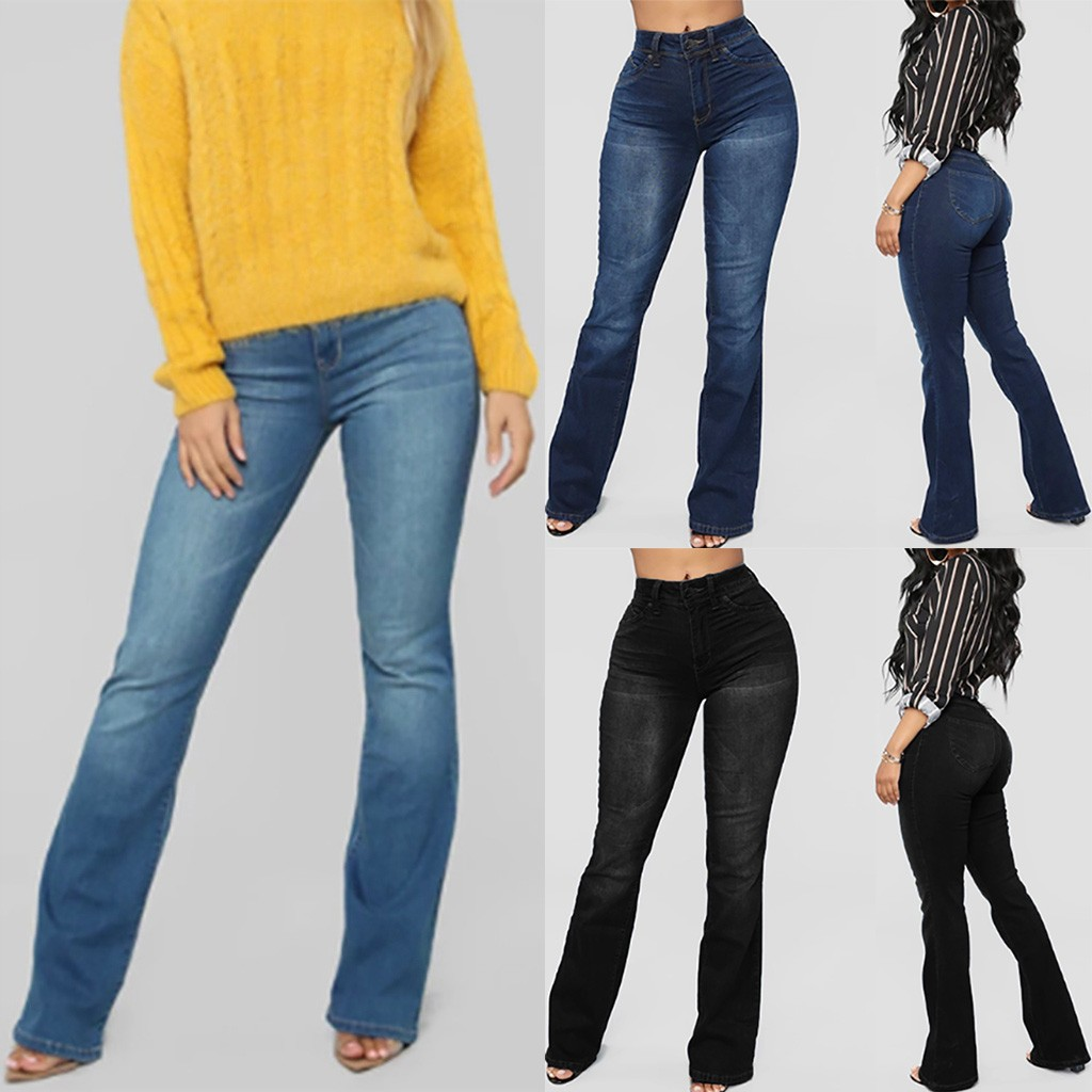Women jeans High Waist Plus size Flare Mom jeans Mid Waist Bell Jeans Stretch Slim casual Pants Length Jeans mujer 2020 S10
