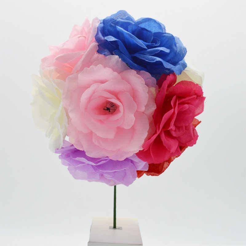 Yoshiko 5pcs 8 centimetri Fiore della Rosa Testa e bastoni di Seta Fiori Artificiali Decorazione Per La Casa FAI DA TE Ghirlanda Decorazione Di Natale nuovo Anno