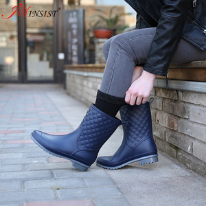 Image 5 - Women boots brand design Boots Rain Boot Shoes Woman Solid Rubber Waterproof Flats Fashion Shoes