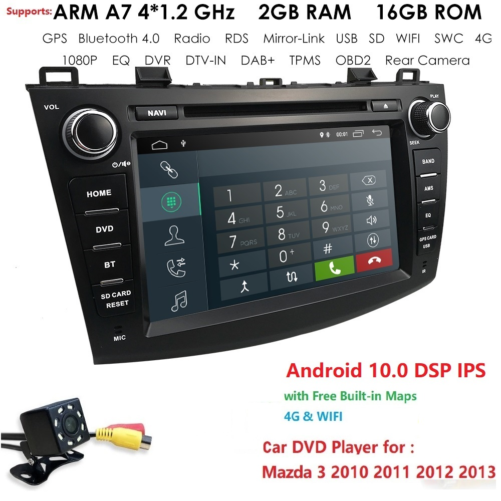 <font><b>2G</b></font>+16G 1024*600 QuadCore 4GWIFI BT video audio Multimedia <font><b>2din</b></font> car dvd player for Mazda 3 Mazda3 2010 2011 2012 2013 DAB DTV CAM image