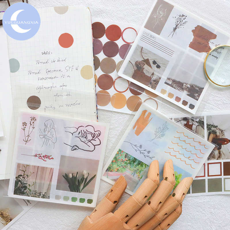 YueGuangXia 4 Designs Ins Style Artistic Spot Washi Sticker Scrapbooking Planner Diary DIY Deco Stationery Stickers 4Pcs/box
