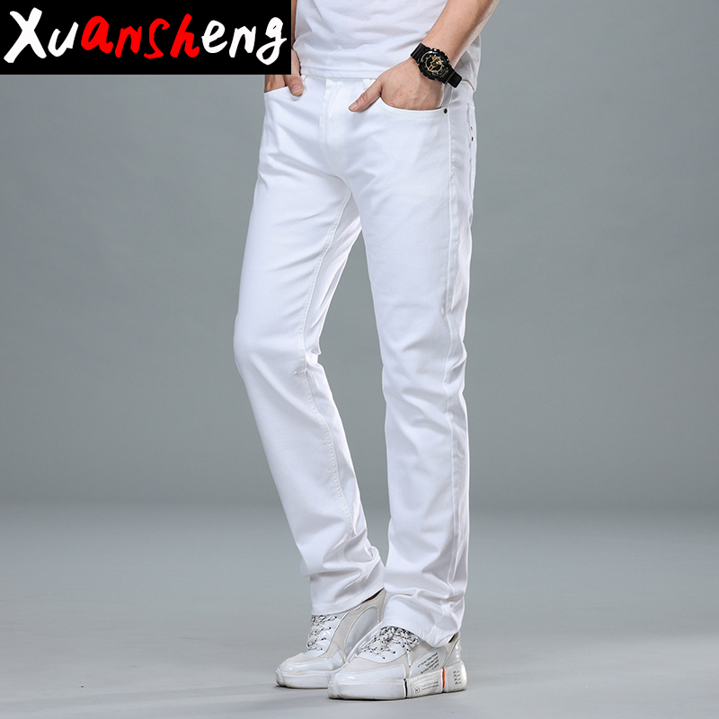 Brand White Gray Men Jeans 2020 New Classic Cotton Youth Stretch Slim Straight Fashion Design Casual Streetwear Long Pants Jeans