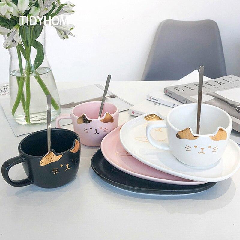 Cartoon Cute Cat Mug and Saucer Set with Spoon Breakfast Milk Coffee Creative Ceramic Tea Cup Set Creative Birthday Gift Ceramic