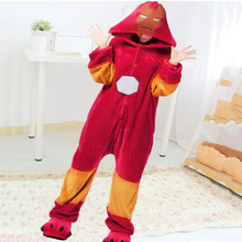 Iron Man Anime Pajamas Onesie Kugurumi Costume Women Winter Flannel Super Hero Adult Nightie Sleepwear Overall For Girl