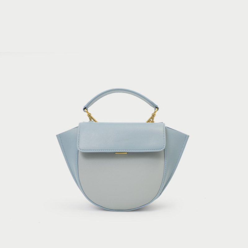 YIFANGZHE NEW MINI Genuine Leather Women Hand Bags, Casual Woman/Ladies Small Crossbody Bag Saddle  with Gold strap