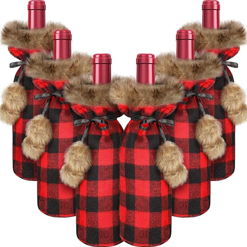 Hot Sale 6 Pieces Christmas Buffalo Plaid Wine Bottle Covers Plaid Wine Bottle Holder Sweater Faux Fur Wine Bottle Pouch Bags