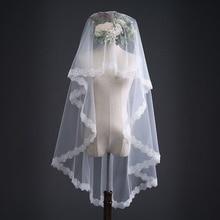 TULX White wedding veil 1.5m Lace Applique Edge Bridal high quality Wedding Veils Bride Veils Wedding Accessory On Sale