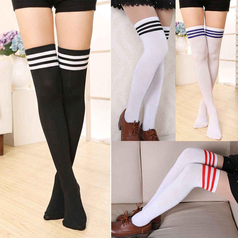 Marka 2020 yeni seksi kadınlar Lady kız moda pamuk örgü diz üzerinde uyluk yüksek çorap uzun çizme sıcak kablosu çizgili çorap