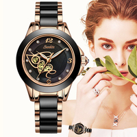 SUNKTA Diamant Oberfläche Keramik Strap Mode Wasserdichte Frauen Uhren Top Marke Luxus Quarzuhr Frauen Geschenk Relogio Feminino