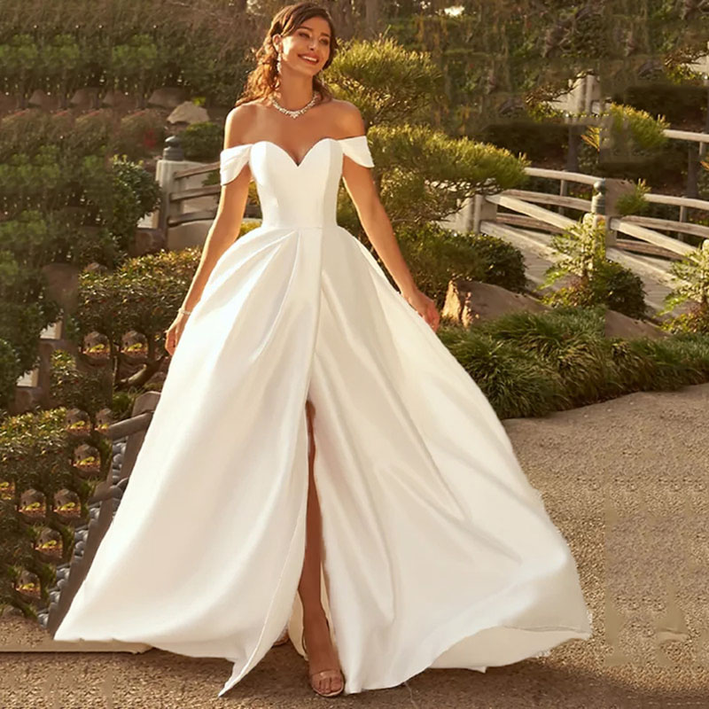 Eightree Elegant Ball Gown Off Shoulder Cap Sleeve Wedding Dress Satin Vestido De Noive Backless Slit Bridal Dress Sweetheart Wedding Dresses Aliexpress