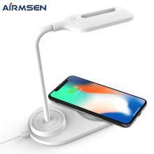 Airmsen LED Table Desk Lamp with Wireless Charger Dimmable Eye-Caring Desk Light 360 Degree Flexible Touch Control Night Light