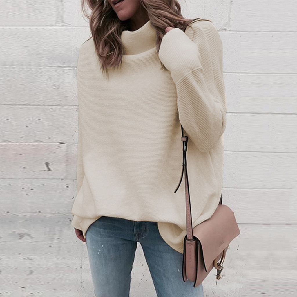 Fashion Casual Turtleneck Knitted Warm Sweater Jumper Loose Solid Streetwear Pullover Tops Female Autumn Winter Women's Sweater