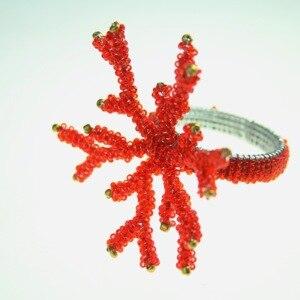 Image 3 - Кольца для салфеток кораллово красного цвета, стеклянный держатель с бисером,