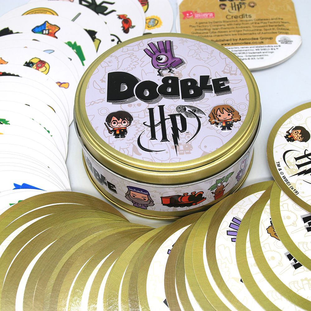 20 Styles Dobble Spot It Toy Iron Box 55 Cards Sport Fun Family Animals Jr Hip Kids Board Game Gift Holidays Camping 123 Tin Box 5