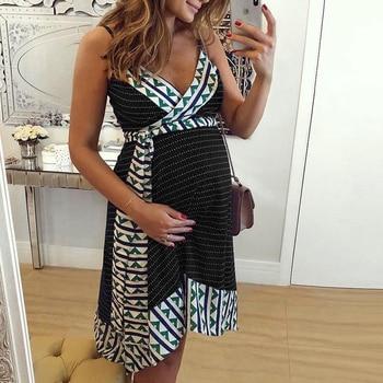 Plus Size Women dress Maternity Lady Geometry V-neck Summer Sleeveless Pregnant Mother Dresses Comfortable 10