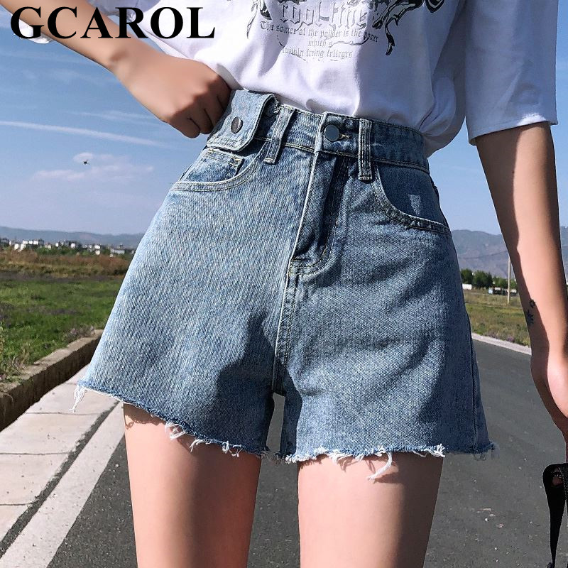 GCAROL <font><b>Women</b></font> High Waist Wide Leg Denim <font><b>Shorts</b></font> 2 Pockets <font><b>Sexy</b></font> <font><b>Mini</b></font> Summer Casual Streetwear Basic Jeans <font><b>Shorts</b></font> Plus Size 32 image