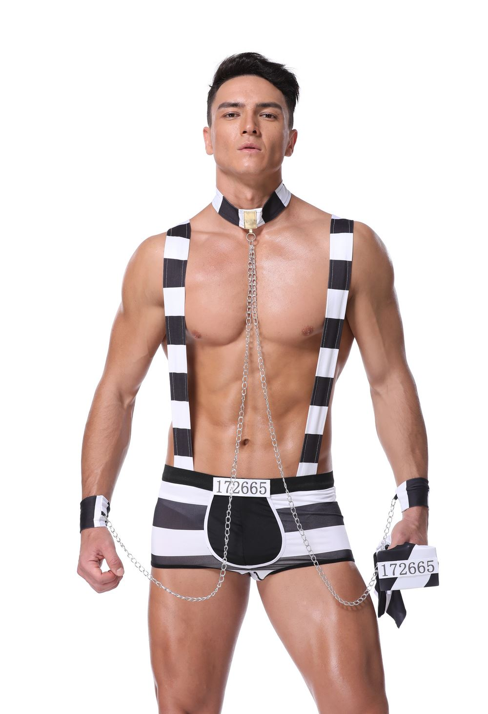 <font><b>Sexy</b></font> New Arrival Black White Stripe Prisoner Costume <font><b>Halloween</b></font> Costume For <font><b>Men</b></font> Party Cosplay image