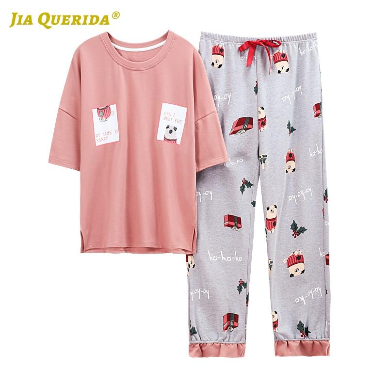 New Crew Neck Pajama Set Homesuit Homeclothes Plus Size Loungewear Women Short Sleeve Long Pants Cartoon Printing Pyjamas Women