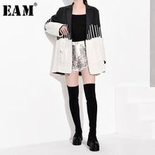 [EAM] Loose Fit Gray Cotrast Color Split Knitting Jacket New Lapel Long Sleeve Women Coat Fashion Tide Spring Autumn 2021 JZ2481
