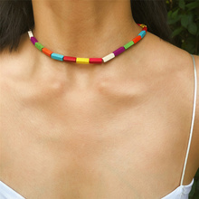 Bohemian Cuboid Shaped Natural Stone Choker Necklace Colorful Bead Short Necklace Jewelry for Women Gift artificial leather velvet x shaped choker necklace