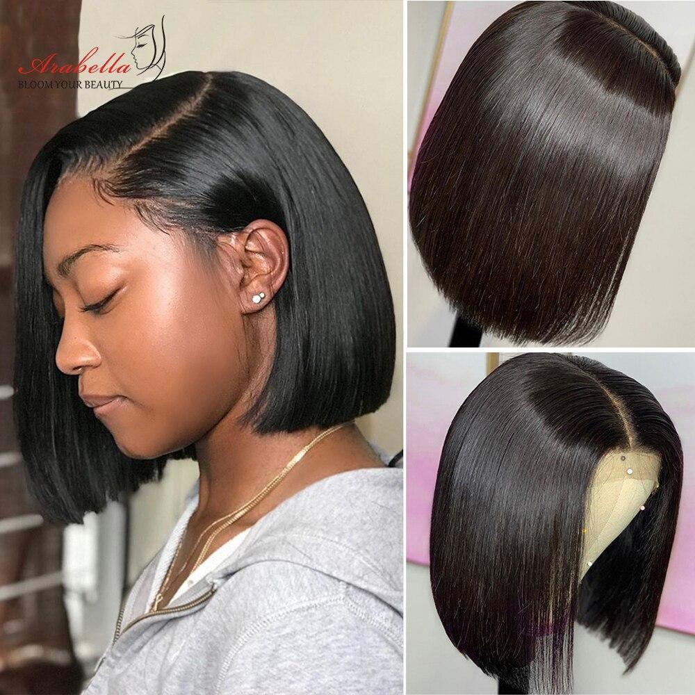 Perruque Bob Lace Closure Wig sans colle brésilienne-Arabella | Perruques 100% naturelles, cheveux vierges, lisses, densité 150%, 4*4