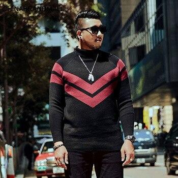 super Brand Big size Men's Wear Sweater Round Neck Leisure Fat Fat Male Knitting Shirt Plus Fat Plus Fat Man Autumn
