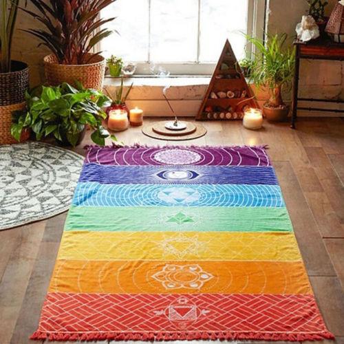 2019 Rainbow Boho Beach Mat Mandala Blanket Striped Tassel Wall Hanging Tapestry Scarf Yoga Free Shipping