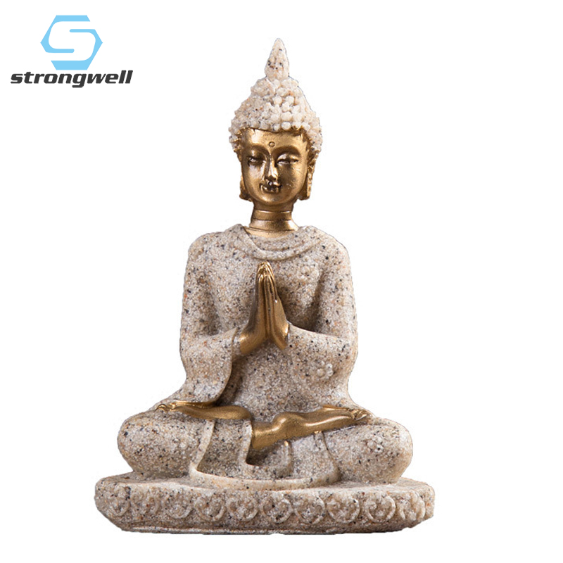 Fengshui Unique Buddha Figure Thailand Sculpture Buddhism Statue Resin Happiness Buddha Home Decoration Accessories Gifts
