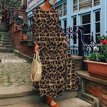 Sexy Leopard Printed Maxi Dress Women's Spring Sundress ZANZEA Casual Long Sleeve Tunic Vestidos Female O Neck Robe Plus Size цена 2017