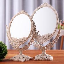 Espejo de maquillaje giratorio de doble cara, espejo de tocador de belleza, ovalado, forma de corazón con rosas, escultura, belleza, baño, color Beige