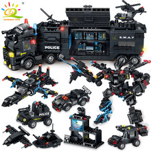 820PCS SWAT Police Team Building Blocks legoing City Command truck Car Helicopter Mech weapon soldier Model Bricks Children Toys(China)