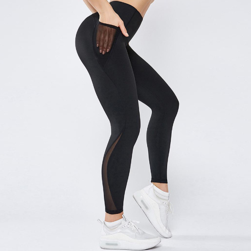 Women's Hot Selling Foreign Trade Fitness Trousers Pocket Polyester  Solid  Ankle-Length Thin Casual  Workout Leggings Pants
