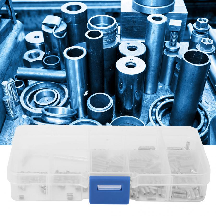 212Pcs Set Screw M3 A2-DIN913 Standard Flat Head Hex Socket Fastening Headless Screw with Storage Box