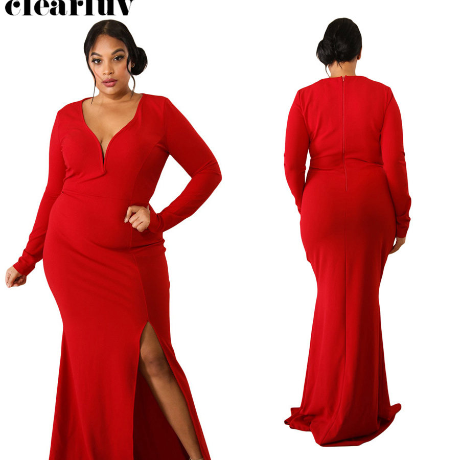 Long Sleeve Floor Length Women Party Dresses Split Evening Dress 2019 Plus Size V-neck Robe De Soiree Formal Evening Gowns T032