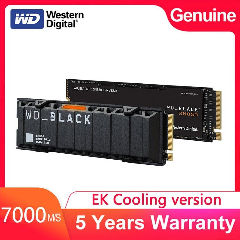 Внутренний твердотельный накопитель Western Digital M2 Black SN850 EK, охлаждающая версия SSD 1 ТБ 500 Гб M.2 2280 SSD NVMe Gen3 PCle 3D Nand