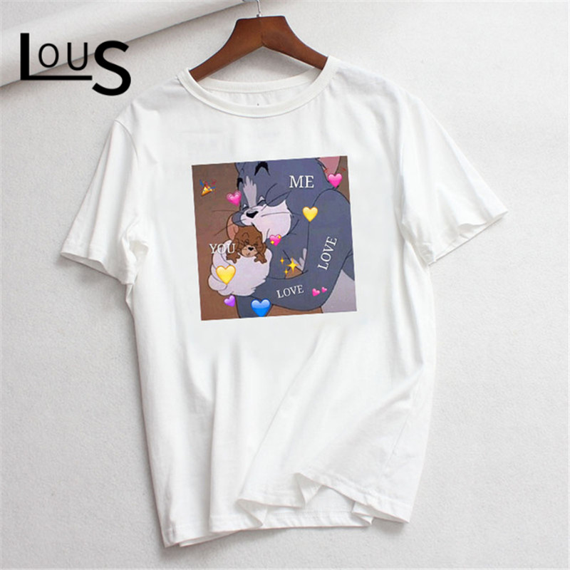 T-Shirt TOM Picture-Printed Streetwear JERRY Korean-Style Trendy Women 90s Cartoon Cute
