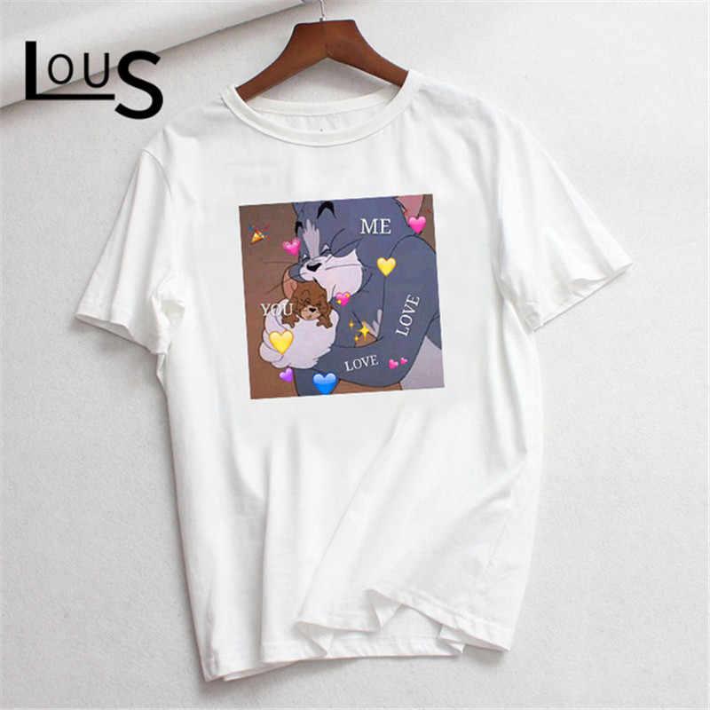 Luslos 原宿かわいい新到着ルーズ Tシャツ漫画の猫トミーマウスジェリープリント女性 O-ネックカジュアル綿 tシャツファム