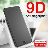 Anti-huella digital 9D Protector de pantalla en la para Apple iphone XR XS 11 Pro Max 10 6 6 S 6 6 S 7 8 Plus vidrio templado protectora de las películas