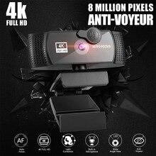 Webcam com microfone 2k 4k hd completo 1080p widescreen computador jogo de vídeo trabalho webcamera rotatable usb câmera web cam
