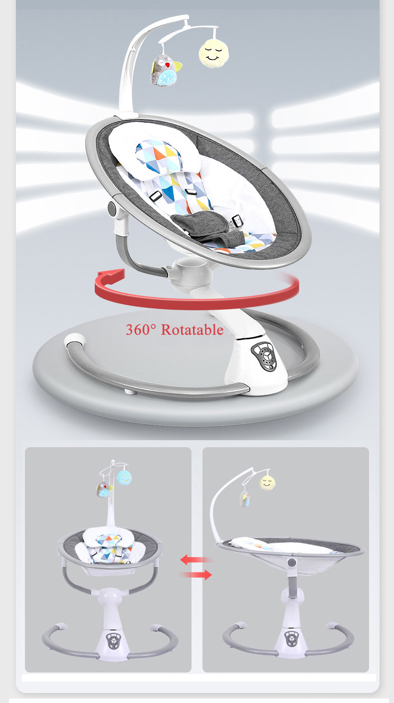 H1736793e198e4bd99a7b545c6550b3a4F Babyinner Electric Baby Rocking Chair Bassinet Newborn with Mosquito Kids Swing 360 Degrees Rotatable Cradle Baby Sleeping Bed