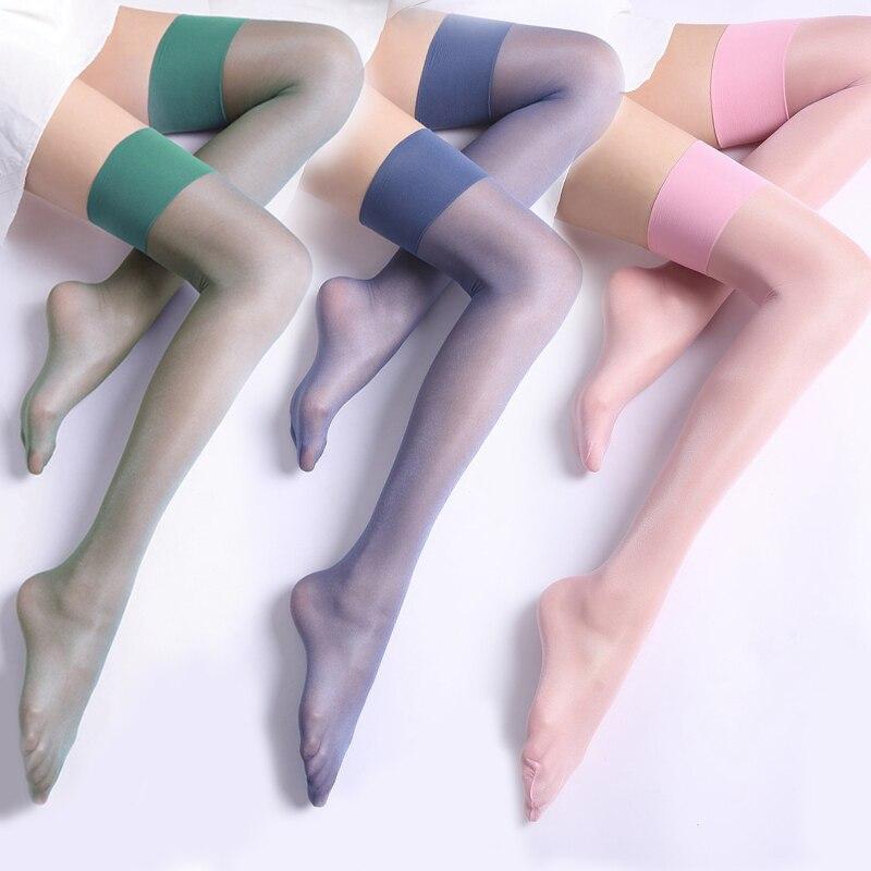 8 цветов Для женщин Пикантные ботфорты, Чулки с эластичным бортом, 12D сверхтонкая жесткая накладка на заднюю панель колготки глянцевые лоску...