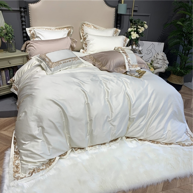 1000TC Egyptian Cotton Gold Embroidery Edge Duvet Cover White Grey Solid Bedding set QUEEN KING Size 4/7Pcs Fitted/Bed sheet set