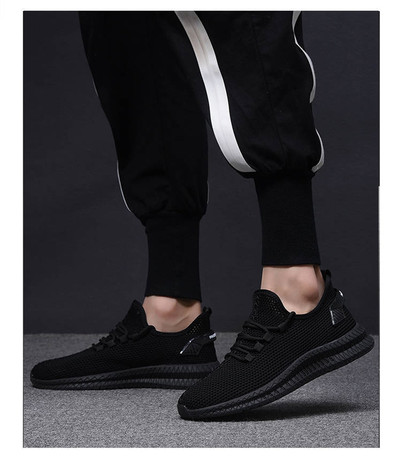 H17369ba08ee84992adef32d693406568i - Men Sneakers Black Mesh Breathable Running Sport Shoes Male Lace Up Non-slip Men Low Athletic Sneakers Casual Men Shoes
